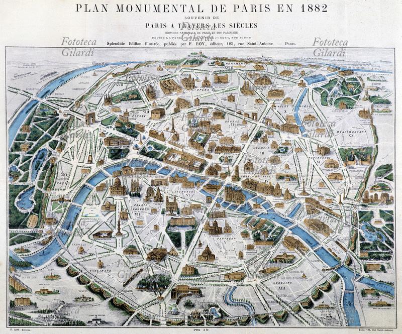 Parigi Cartina Monumenti.Fototeca Gilardi Foto Ftt18110 Parigi Mappa Con Indicati I Maggiori Monumenti Di Parigi 1882
